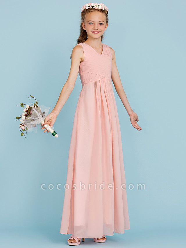 Sheath / Column V Neck Floor Length Chiffon Junior Bridesmaid Dress With Criss Cross / Pleats / Wedding Party / Open Back