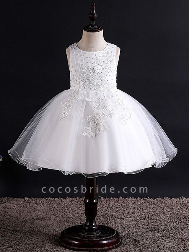 Princess / Ball Gown Knee Length Wedding / Party Flower Girl Dresses - Tulle Sleeveless Jewel Neck With Bow(S) / Beading / Appliques