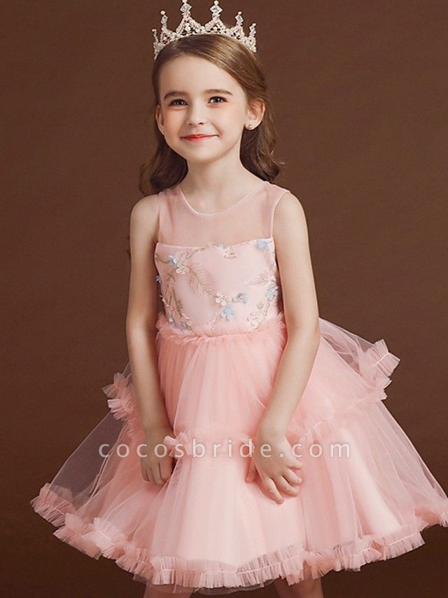 Princess / Ball Gown Knee Length Wedding / Party Flower Girl Dresses - Tulle Sleeveless Jewel Neck With Bow(S) / Tier / Embroidery