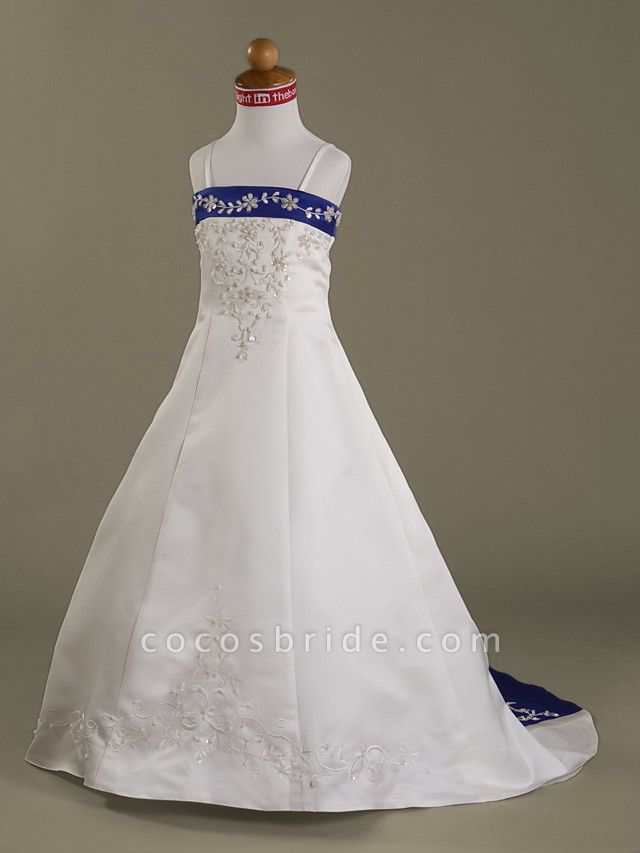 Princess / A-Line Court Train First Communion / Wedding Party Flower Girl Dresses - Satin Sleeveless Spaghetti Strap With Beading / Appliques / Spring / Summer / Fall / Winter