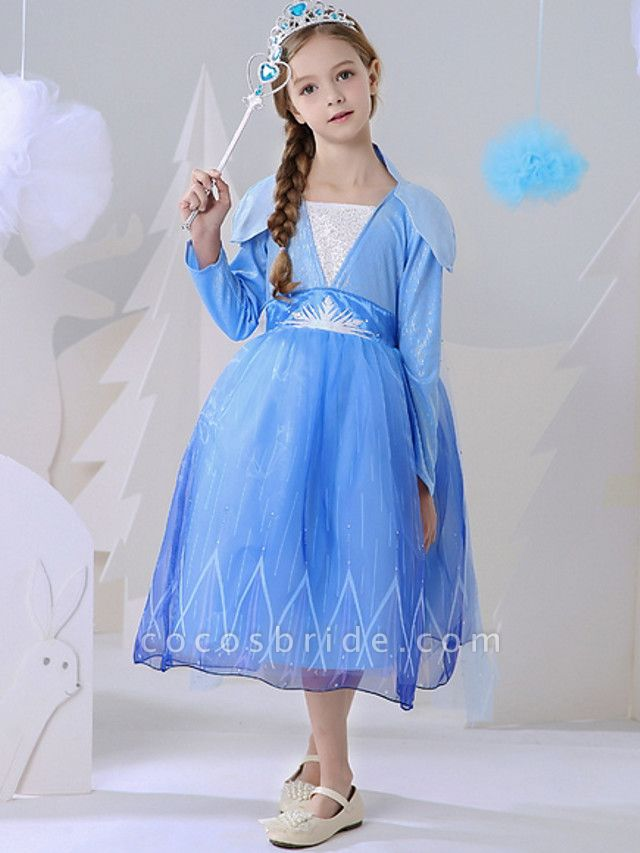 A-Line Ankle Length Event / Party / Birthday Flower Girl Dresses - Polyester Long Sleeve Square Neck With Paillette