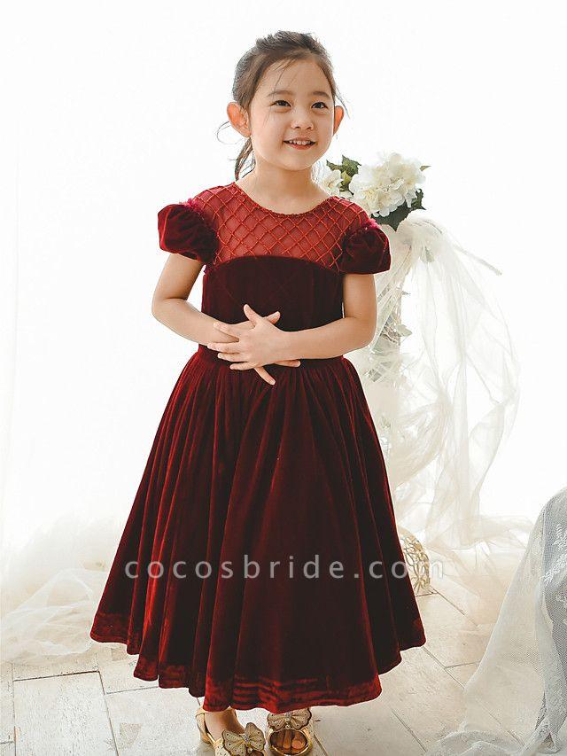 Ball Gown Tea Length Wedding / Birthday / Pageant Flower Girl Dresses - Velvet Short Sleeve Jewel Neck With Pearls