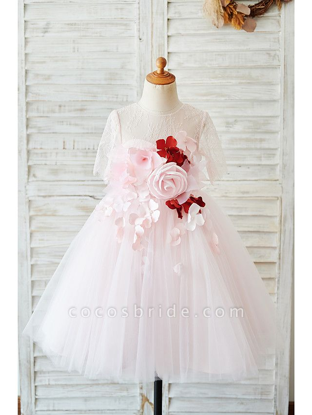 Ball Gown Knee Length Wedding / Birthday Flower Girl Dresses - Lace / Tulle Sleeveless Jewel Neck With Petal / Pearls
