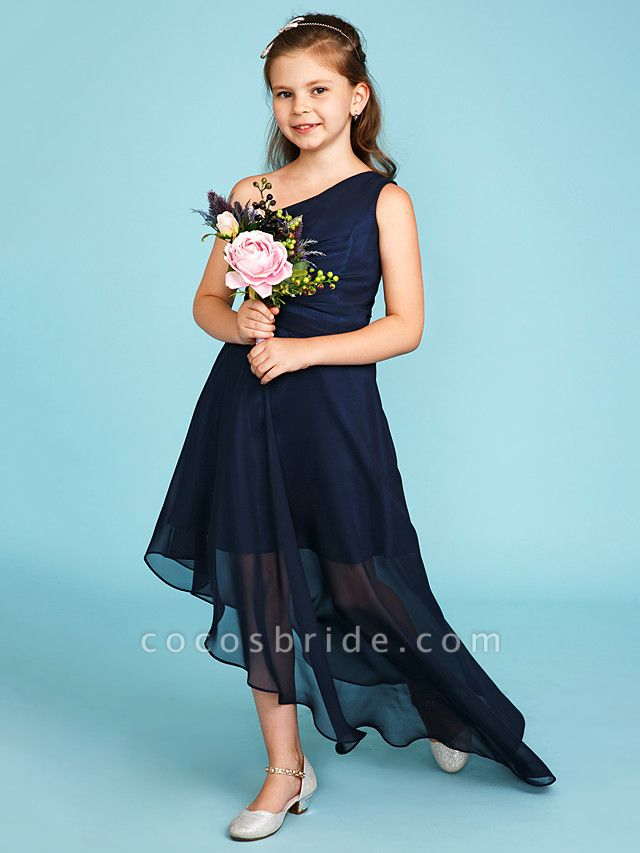 A-Line One Shoulder Asymmetrical Chiffon Junior Bridesmaid Dress With Side Draping / Wedding Party