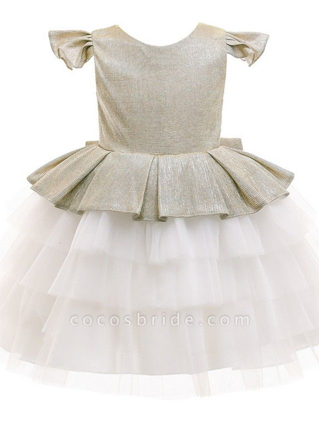 Princess / Ball Gown Knee Length Wedding / Party Flower Girl Dresses - Tulle / Mikado Cap Sleeve Jewel Neck With Bow(S) / Tier