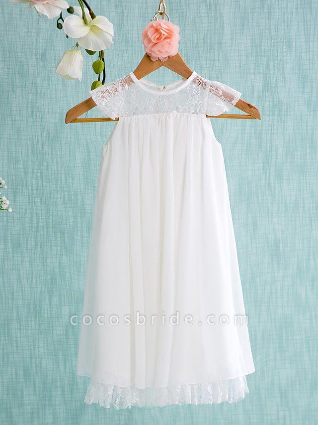 A-Line Short / Mini Wedding / First Communion / Holiday Flower Girl Dresses - Chiffon Sleeveless Jewel Neck With Lace / Pleats
