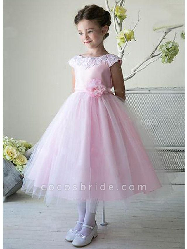 A-Line Ankle Length Wedding / Party Flower Girl Dresses - Lace / Satin / Tulle Sleeveless Jewel Neck With Bow(S)