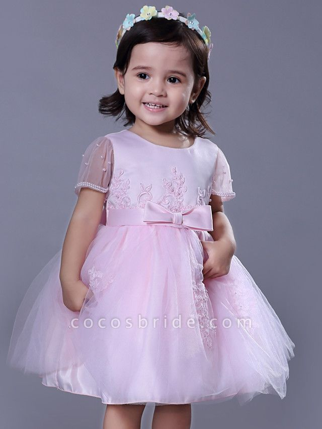 Ball Gown Royal Length Train / Medium Length Wedding / Party Flower Girl Dresses - Satin / Tulle Short Sleeve Jewel Neck With Beading / Appliques / Butterfly