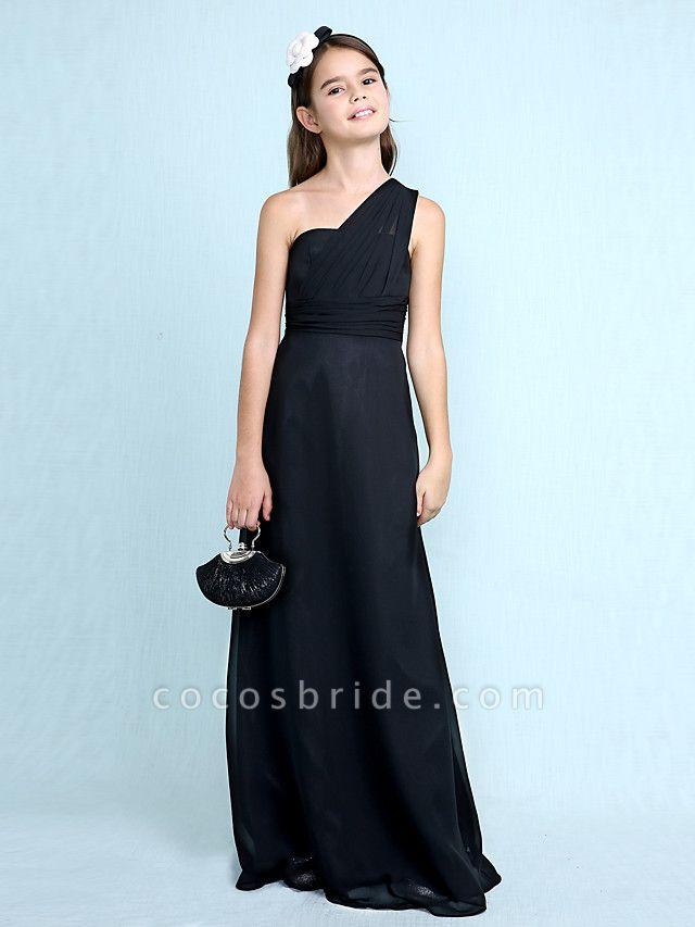 Sheath / Column One Shoulder Floor Length Chiffon Junior Bridesmaid Dress With Side Draping / Natural