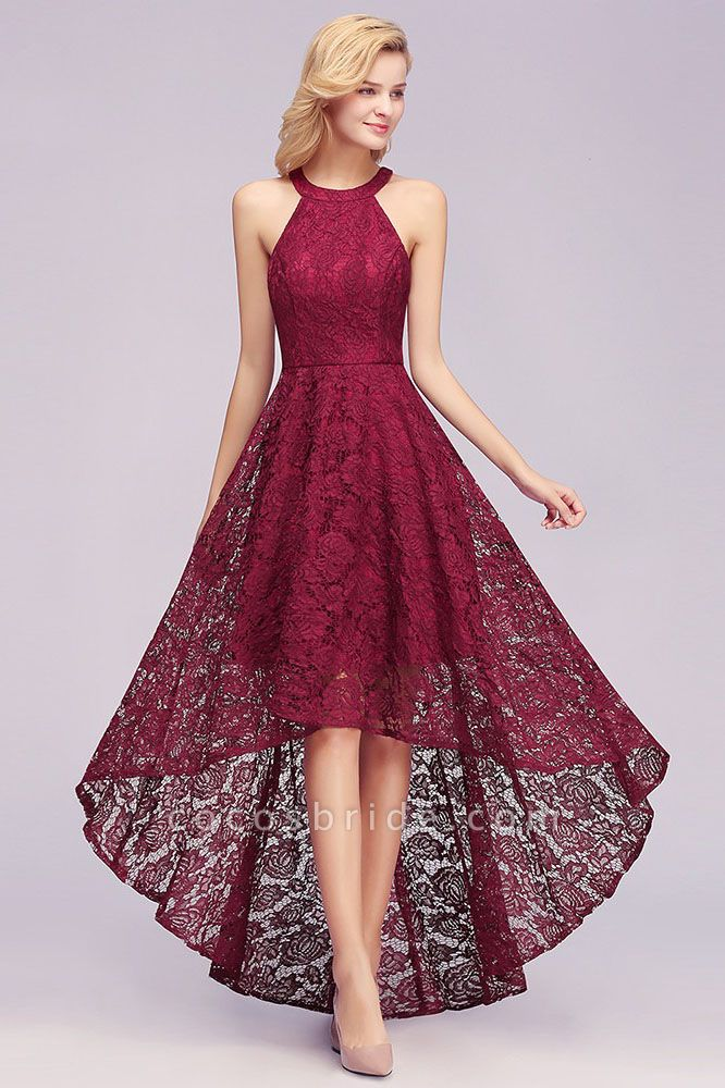 Burgundy Halter Sleeveless Sheath Lace Dresses