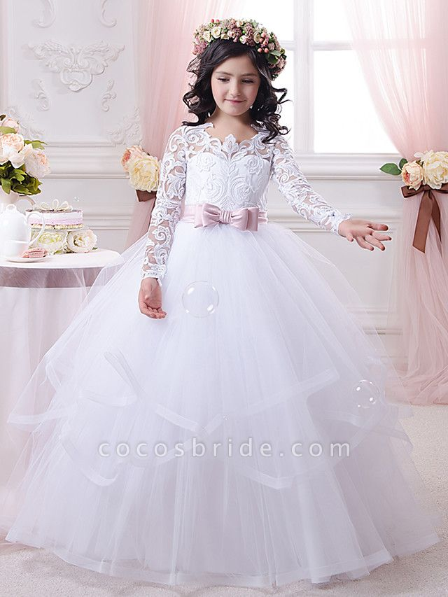 Ball Gown Sweep / Brush Train Wedding / Birthday / First Communion Flower Girl Dresses - Lace / Tulle / Cotton Long Sleeve Scalloped Neckline With Tier / Appliques / Solid