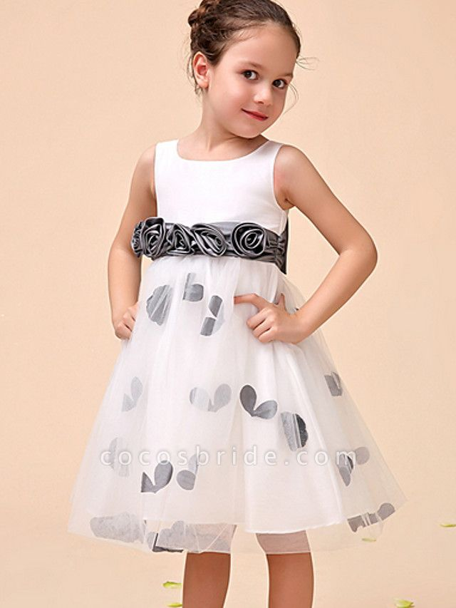 Ball Gown Ankle Length Party Flower Girl Dresses - Polyester Sleeveless Jewel Neck With Pattern / Print / Appliques