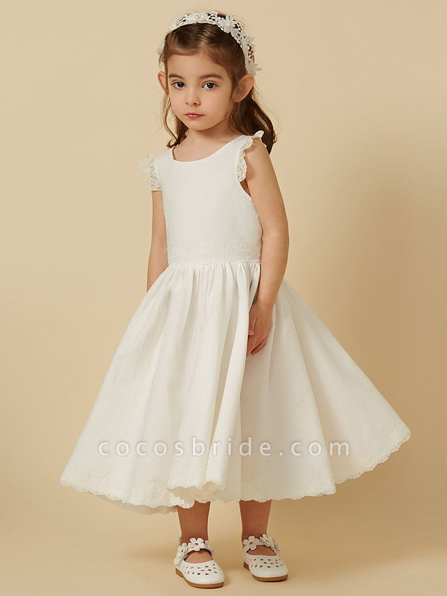 Princess Knee Length Wedding / First Communion Flower Girl Dresses - Lace / Cotton Sleeveless Scoop Neck With Pleats