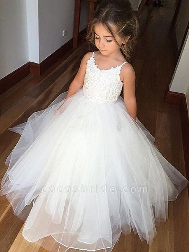 Princess Long Length Wedding / Birthday / Pageant Flower Girl Dresses - Tulle / Cotton Sleeveless Jewel Neck With Lace / Appliques