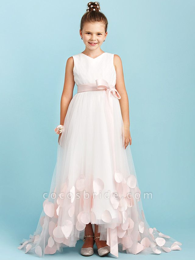 Princess / A-Line V Neck Sweep / Brush Train Satin / Tulle Junior Bridesmaid Dress With Sashes / Ribbons / Bow(S) / Wedding Party
