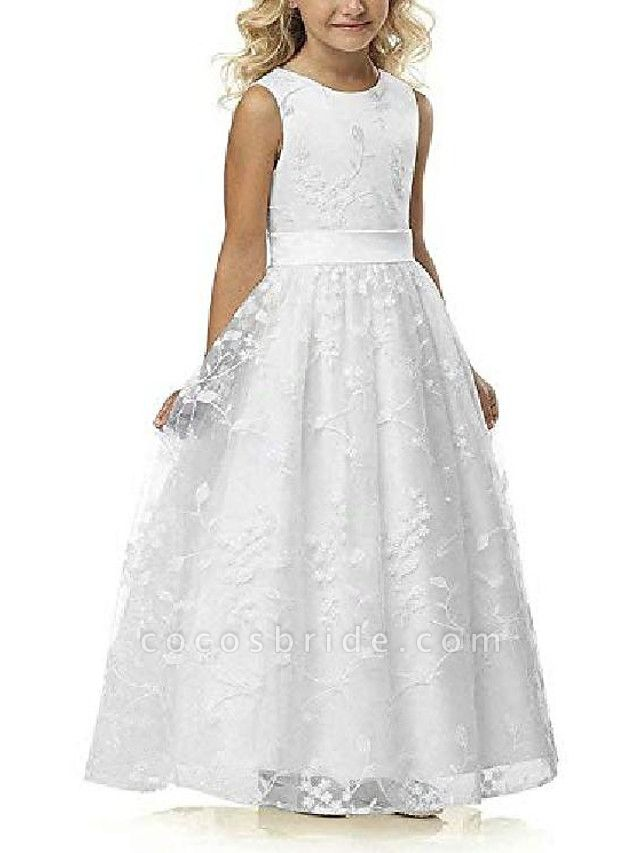 A Line Wedding Pageant Lace Flower Girl Dress With Belt 2-12 Year Old &Amp;;White, Custom Size&Amp;;
