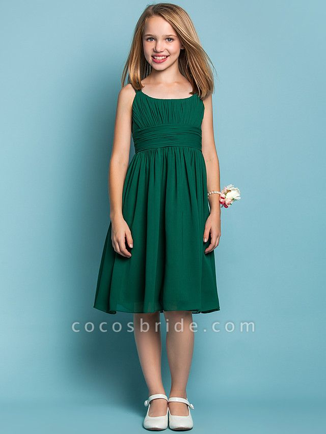 Sheath / Column Straps Knee Length Chiffon Junior Bridesmaid Dress With Ruched / Draping / Spring / Summer / Fall / Apple / Hourglass