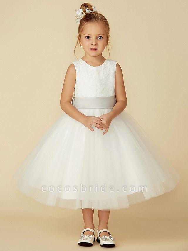 A-Line Tea Length Wedding / First Communion Flower Girl Dresses - Lace / Tulle Sleeveless Jewel Neck With Lace / Sash / Ribbon