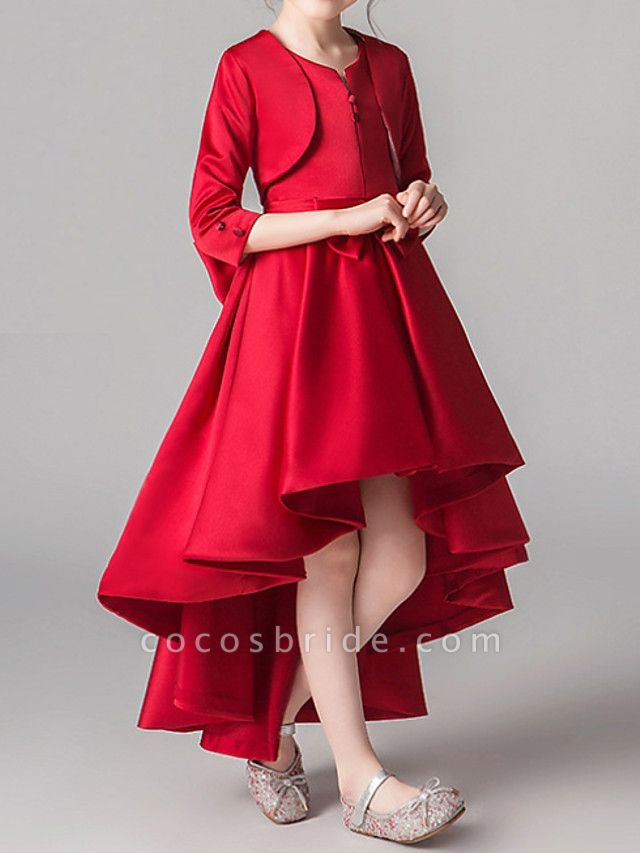 Two Piece Asymmetrical Polyester 3/4 Length Sleeve Jewel Neck With Bow(S) / Pleats