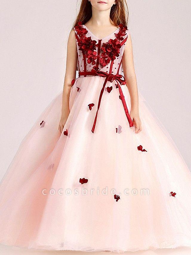 Ball Gown Floor Length Pageant Flower Girl Dresses - Polyester Sleeveless V Neck With Sash / Ribbon / Beading / Appliques