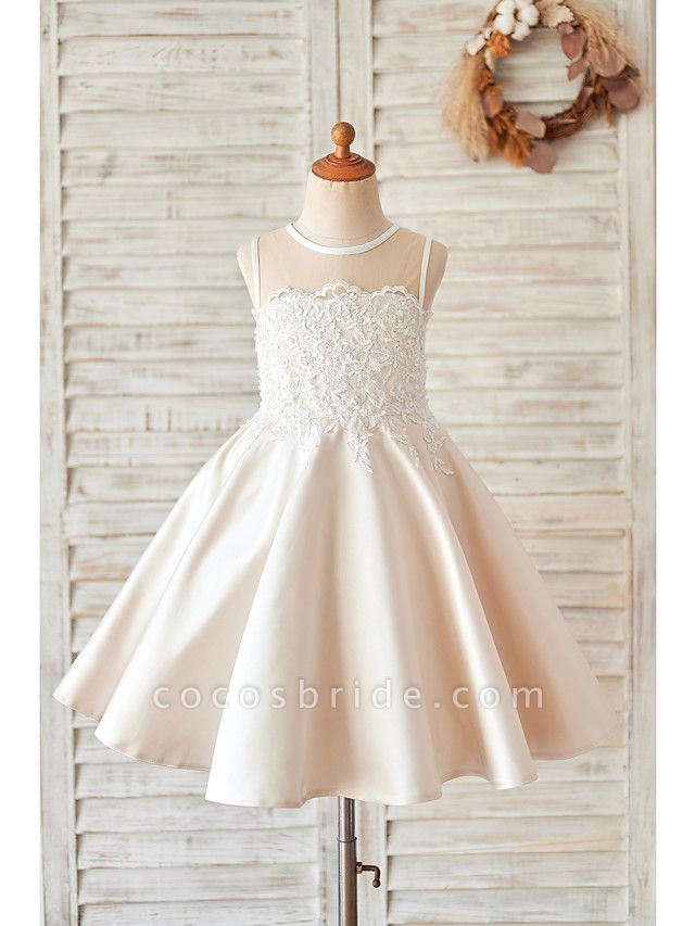 Princess / Ball Gown Knee Length Wedding / Birthday Flower Girl Dresses - Lace / Satin Sleeveless Jewel Neck With Buttons / Appliques