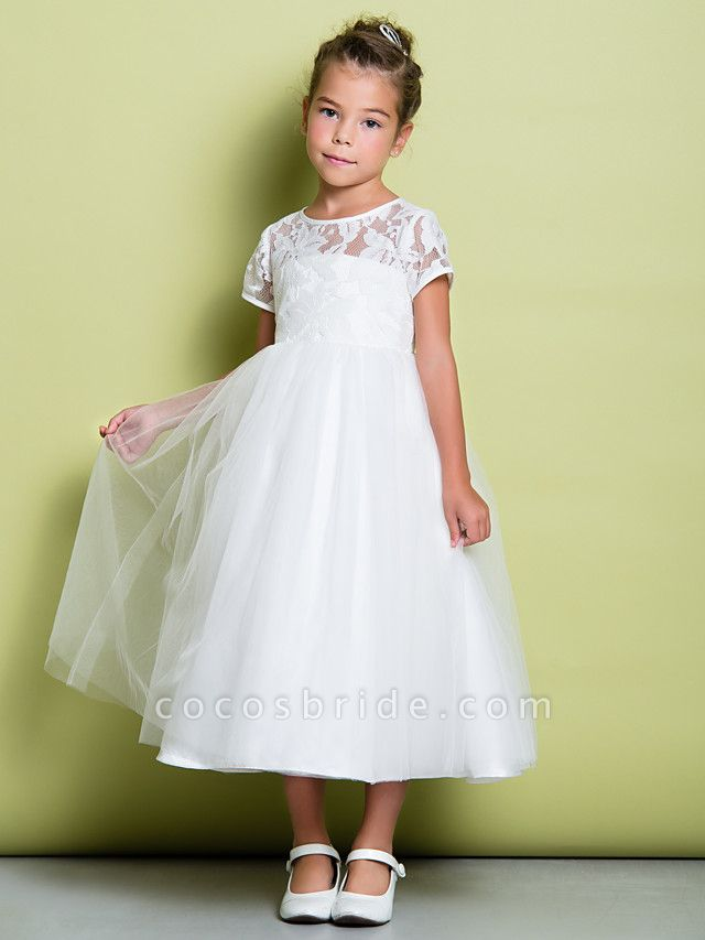 A-Line Tea Length Wedding / First Communion Flower Girl Dresses - Lace / Tulle Short Sleeve Jewel Neck With Lace