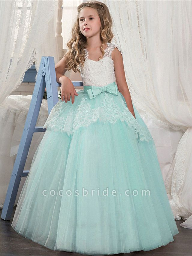 Ball Gown Floor Length Wedding / Party Flower Girl Dresses - Tulle Sleeveless Jewel Neck With Pleats / Tiered