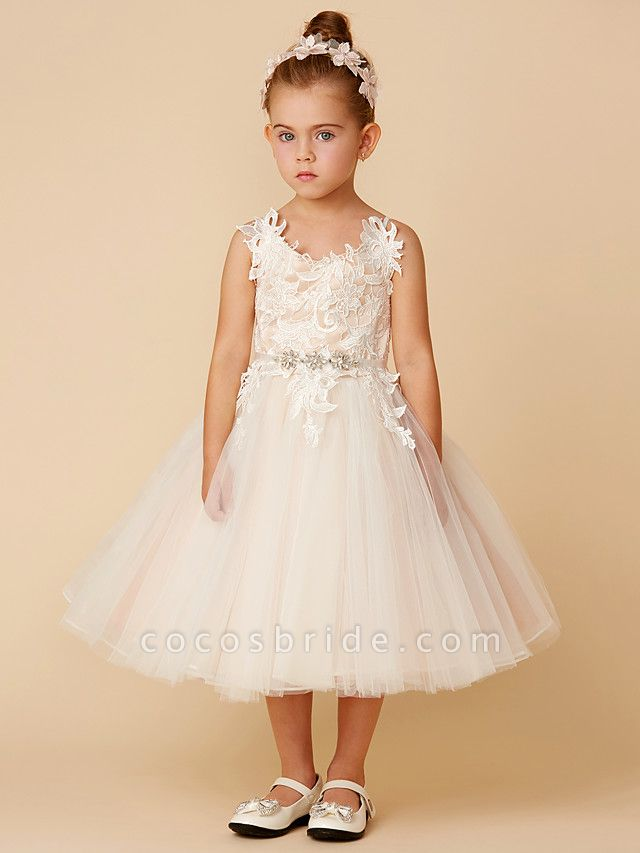 Princess Knee Length Wedding / First Communion Flower Girl Dresses - Lace / Tulle Sleeveless Spaghetti Strap With Crystal / Lace / Sashes / Ribbons