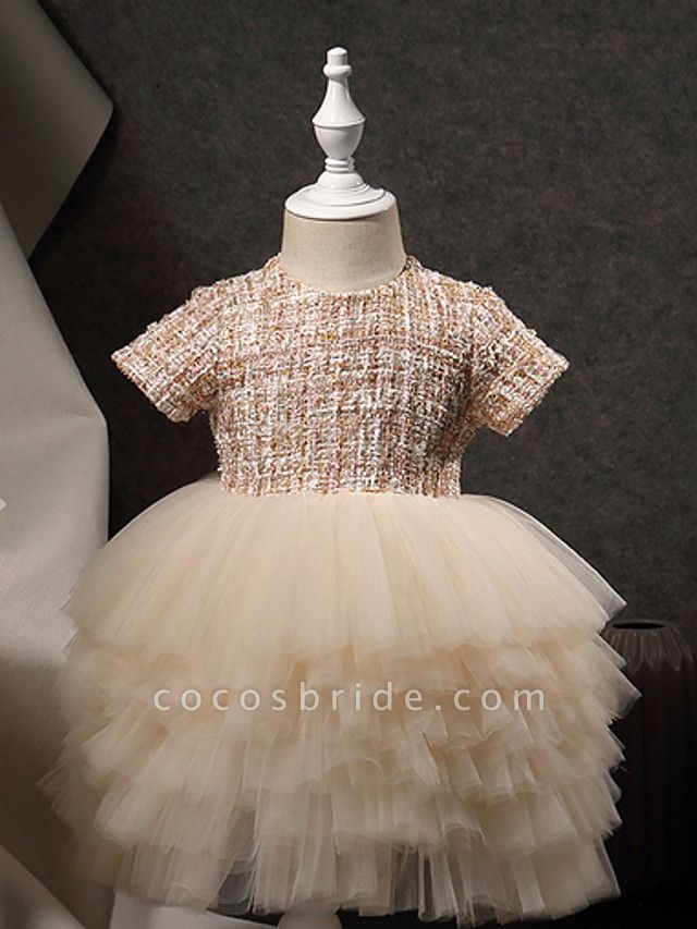 Princess Ankle Length Pageant Flower Girl Dresses - Polyester Short Sleeve Jewel Neck With Beading / Appliques
