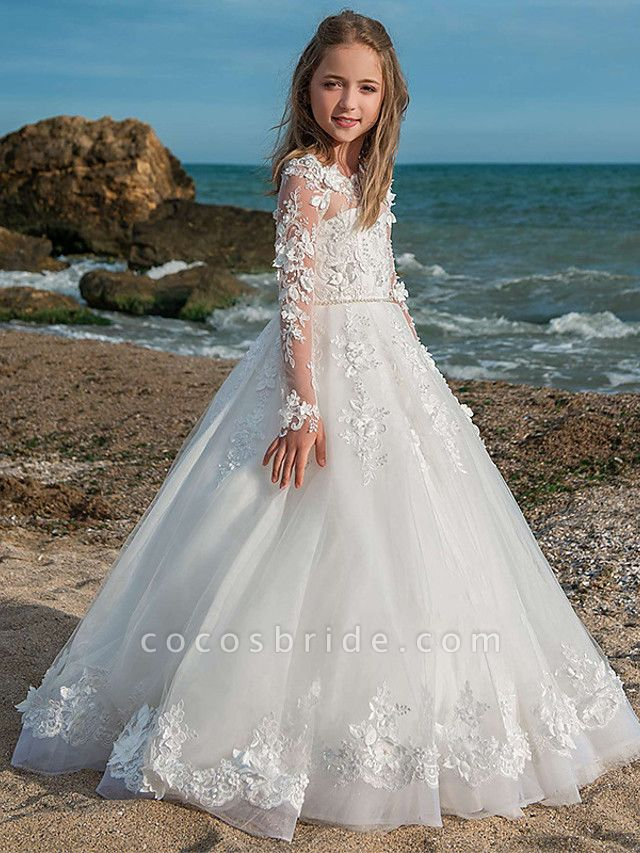 Princess / Ball Gown Floor Length Wedding / Party Flower Girl Dresses - Lace / Tulle Long Sleeve Jewel Neck With Pleats / Appliques