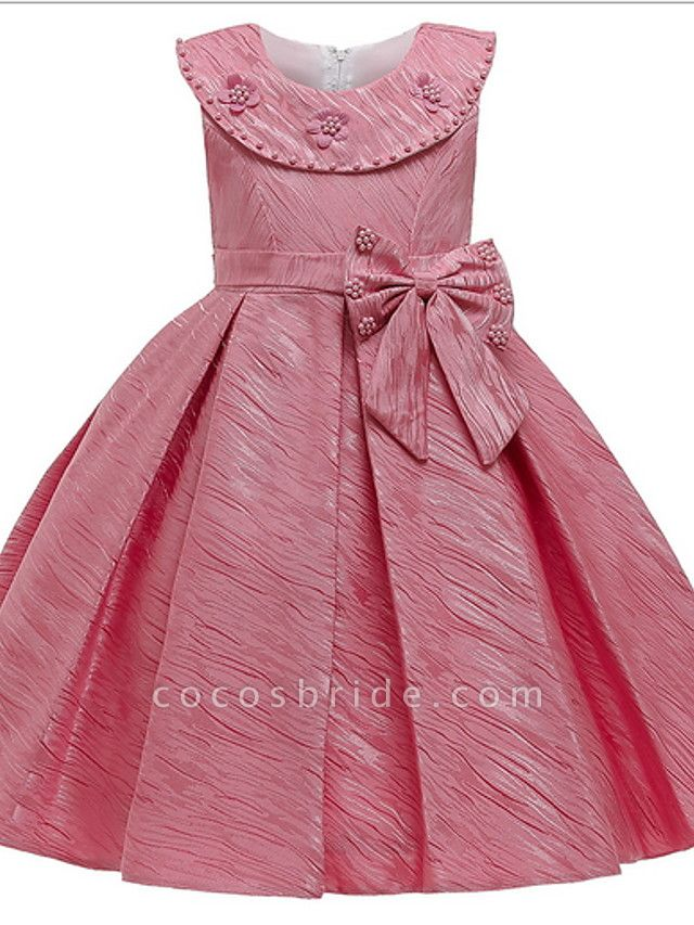 Ball Gown Ankle Length Pageant Flower Girl Dresses - Polyester Sleeveless Jewel Neck With Appliques