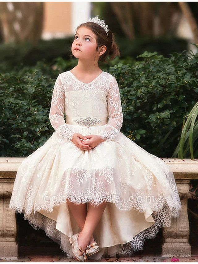 Ball Gown Asymmetrical Wedding Flower Girl Dresses - Lace Long Sleeve V Neck With Bow(S) / Appliques / Solid