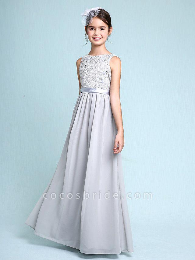 Sheath / Column Bateau Neck Floor Length Chiffon / Lace Junior Bridesmaid Dress With Lace / Natural