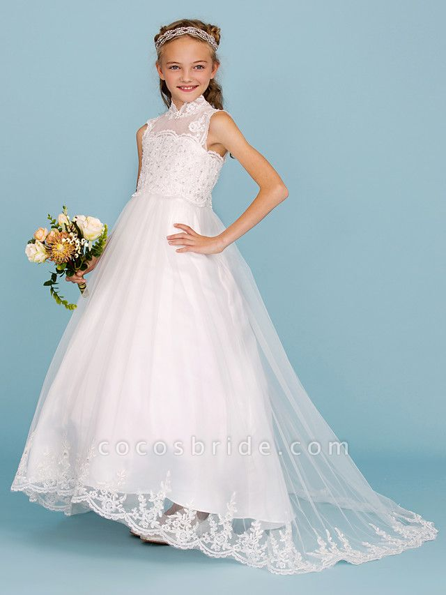 Ball Gown High Neck Sweep / Brush Train Lace / Satin Junior Bridesmaid Dress With Beading / Appliques / Wedding Party