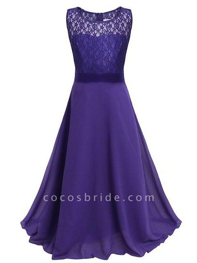 A-Line Floor Length Wedding / Party Flower Girl Dresses - Chiffon / Lace Sleeveless Jewel Neck With Sash / Ribbon