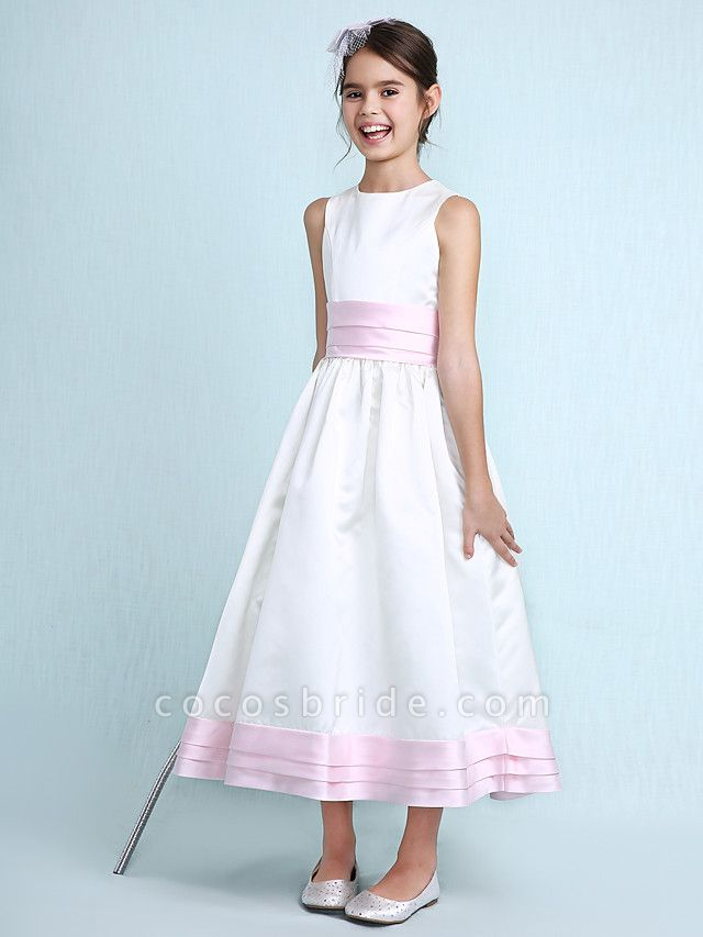 Princess / A-Line Jewel Neck Knee Length Satin Junior Bridesmaid Dress With Sash / Ribbon / Ruched / Ruffles / Spring / Summer / Fall / Winter / Wedding Party