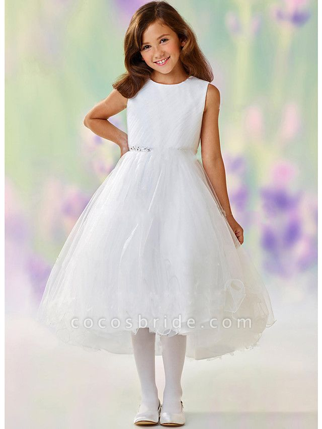 A-Line Ankle Length Wedding / Party Flower Girl Dresses - Satin / Tulle Sleeveless Jewel Neck With Tier