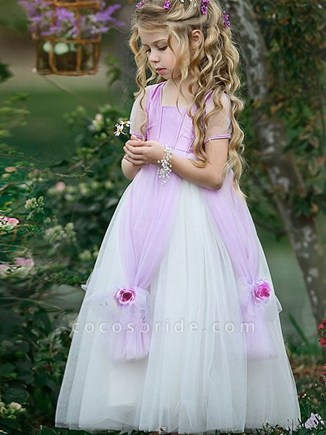 Princess Floor Length Pageant Flower Girl Dresses - Polyester Short Sleeve Scoop Neck With Splicing