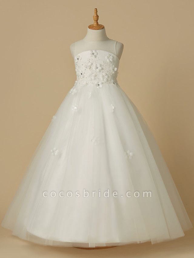 A-Line Floor Length Wedding / First Communion Flower Girl Dresses - Satin / Tulle Sleeveless Jewel Neck With Beading / Flower