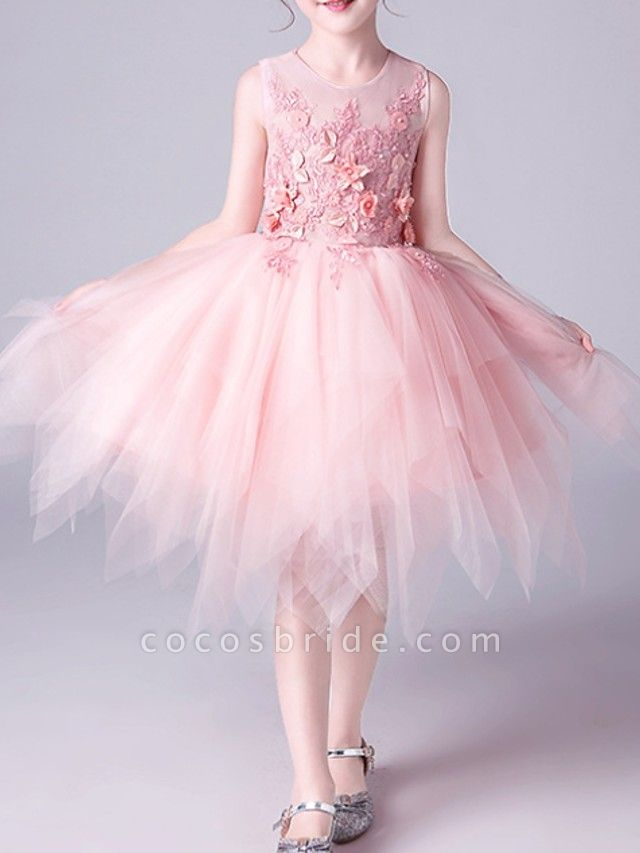 A-Line Knee Length Pageant Flower Girl Dresses - Tulle Sleeveless Jewel Neck With Beading / Appliques