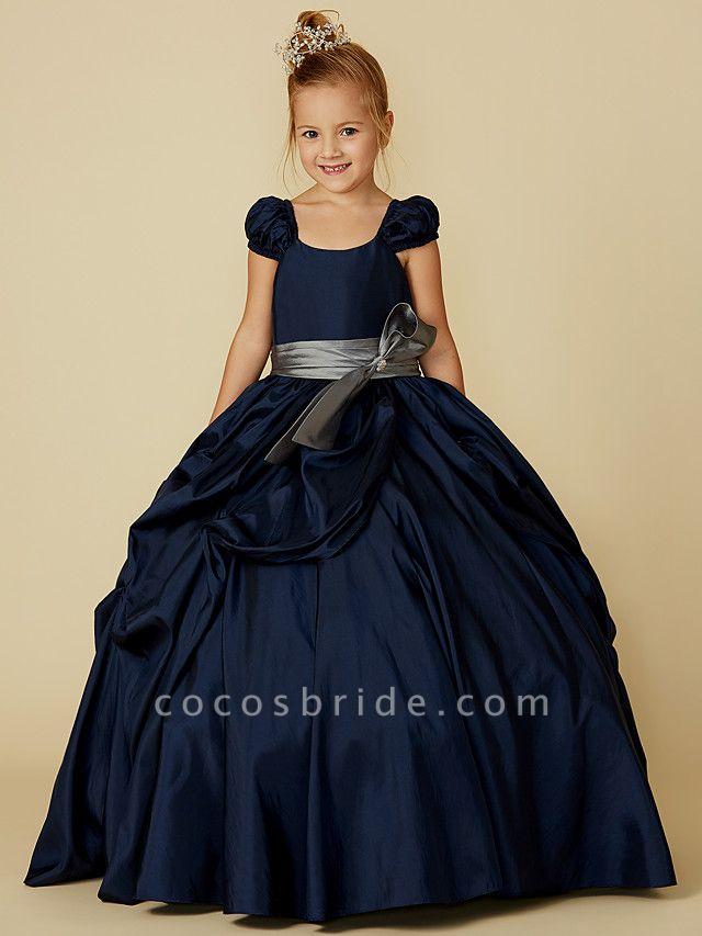 Ball Gown Floor Length Pageant Flower Girl Dresses - Taffeta Short Sleeve Scoop Neck With Belt / Bow(S)