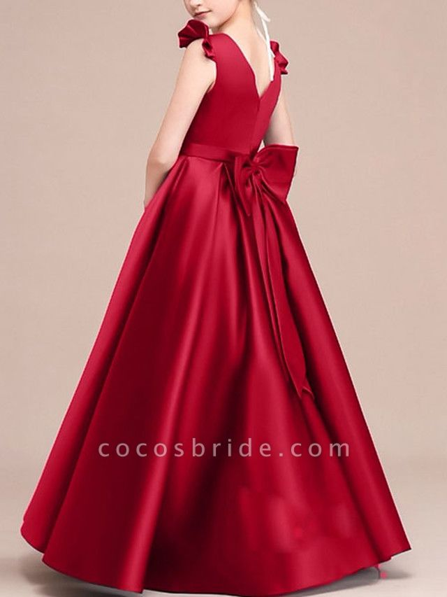 A-Line Round Neck Floor Length Satin Junior Bridesmaid Dress With Bow(S) / Ruffles