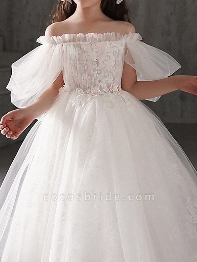 Ball Gown Ankle Length First Communion Flower Girl Dresses - Polyester Half Sleeve Off Shoulder With Appliques