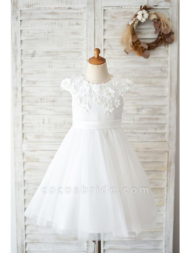 Ball Gown Knee Length Wedding / Birthday Flower Girl Dresses - Satin / Tulle Cap Sleeve Jewel Neck With Petal / Lace / Bow(S)