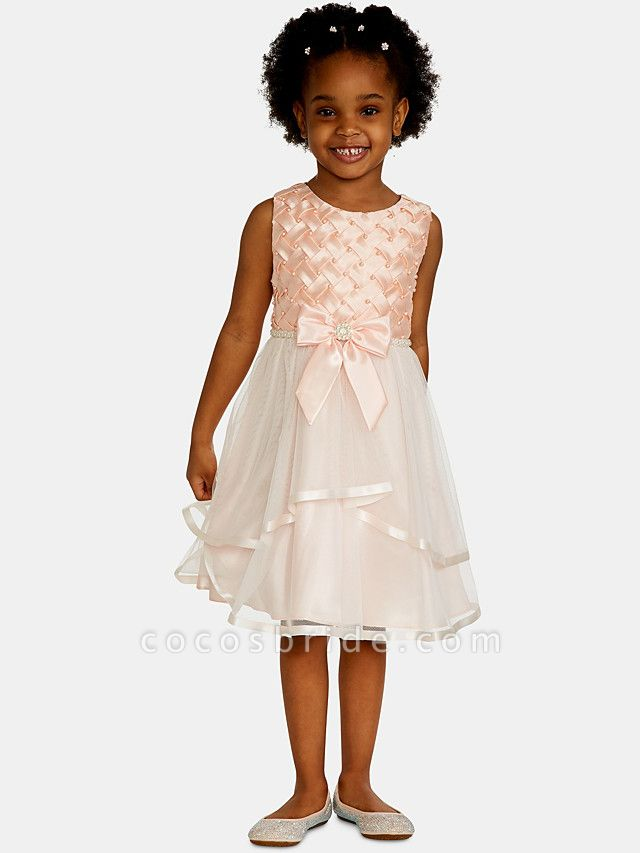 A-Line Knee Length Wedding / Party Flower Girl Dresses - Satin / Tulle Sleeveless Jewel Neck With Bow(S) / Appliques
