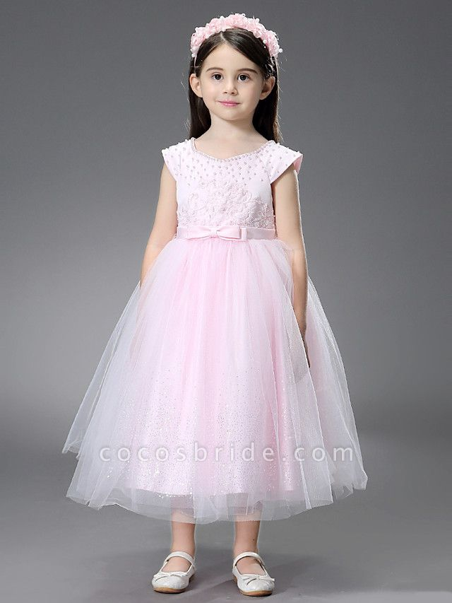 Princess / Ball Gown Ankle Length / Royal Length Train Wedding / Event / Party Flower Girl Dresses - Satin / Tulle Sleeveless Square Neck With Beading / Ruffles / Appliques