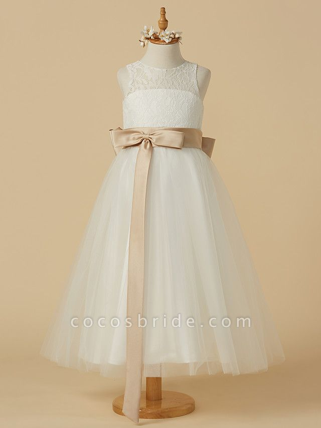 A-Line Ankle Length Wedding / First Communion Flower Girl Dresses - Lace / Tulle Sleeveless Jewel Neck With Sash / Ribbon / Bow(S) / Pleats