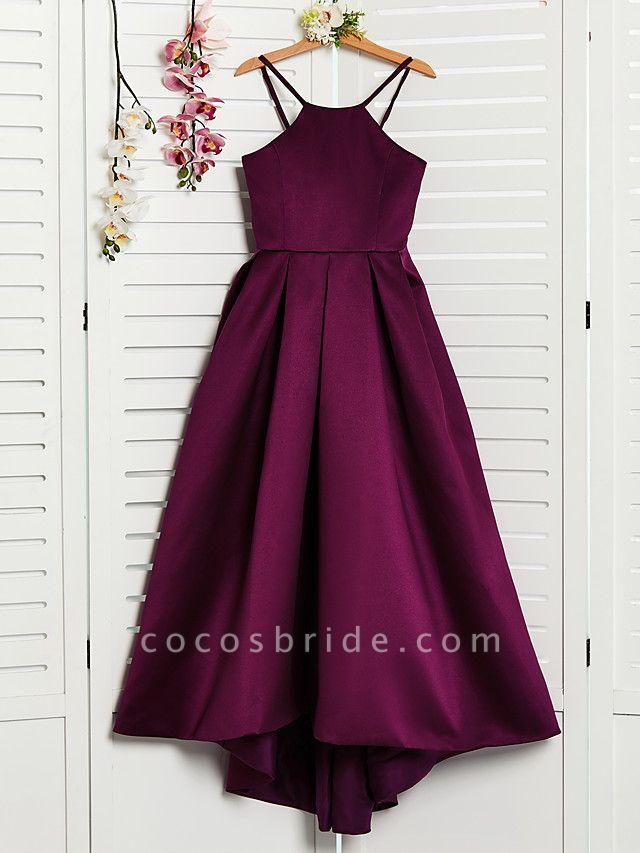 A-Line Halter Neck Sweep / Brush Train / Asymmetrical / Floor Length Satin Junior Bridesmaid Dress With Pleats