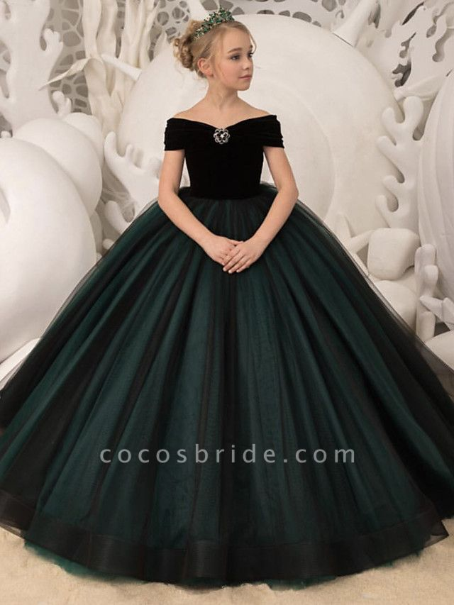 Princess / Ball Gown Sweep / Brush Train Wedding / Party Flower Girl Dresses - Tulle / Velvet Long Sleeve Off Shoulder With Bow(S) / Crystal Brooch