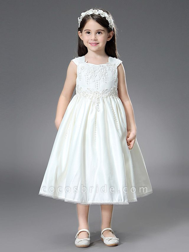 Princess / Ball Gown Ankle Length / Royal Length Train Wedding / First Communion Flower Girl Dresses - Satin Sleeveless Square Neck With Belt / Beading / Appliques